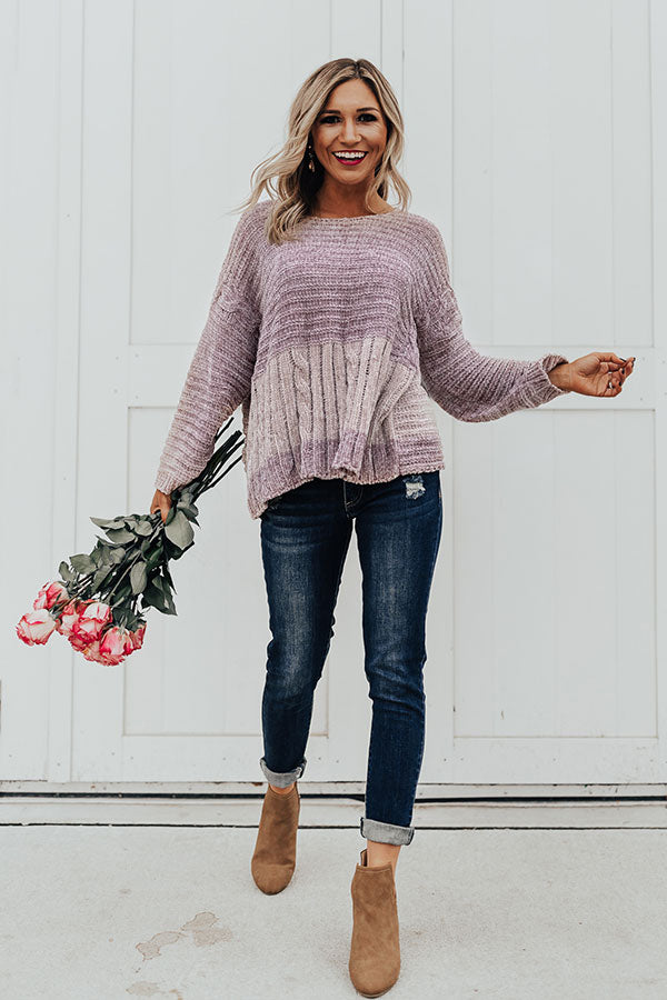 Snowfall In Vail Chenille Sweater In Dusty Purple