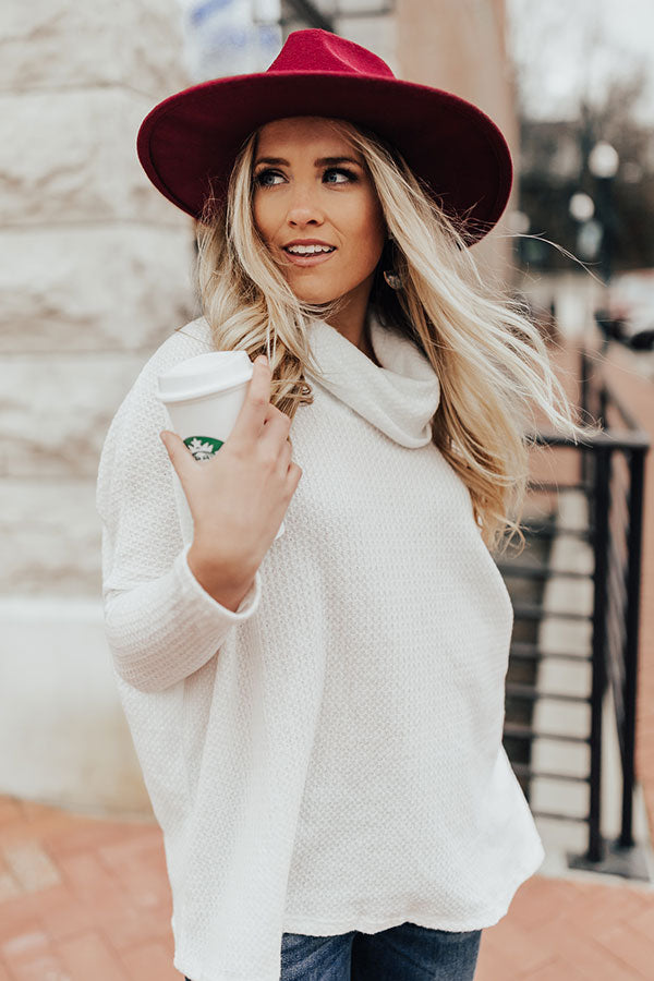 First Class Cuddles Waffle Knit Shift Sweater In White