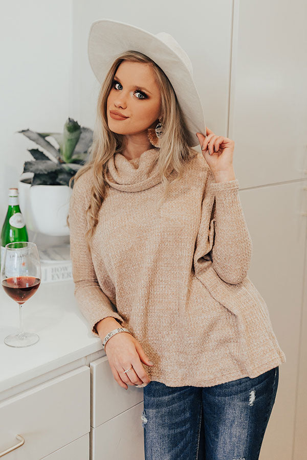 First Class Cuddles Waffle Knit Shift Sweater In Iced Mocha