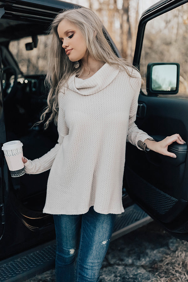 Snow Day Snuggles Waffle Knit Sweater In Cream