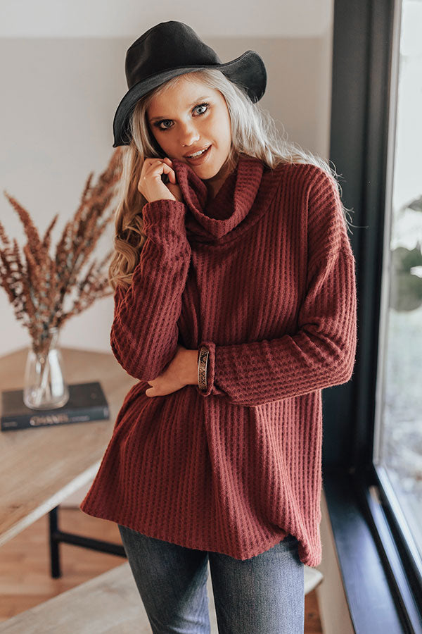 Snow Day Snuggles Waffle Knit Sweater In Wine