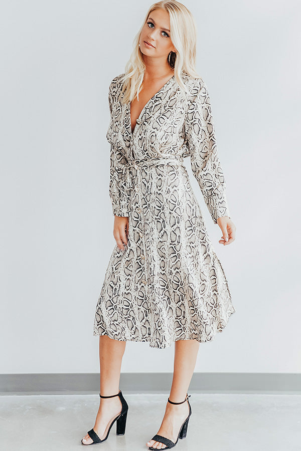 Cocktail Hour Snake Print Midi