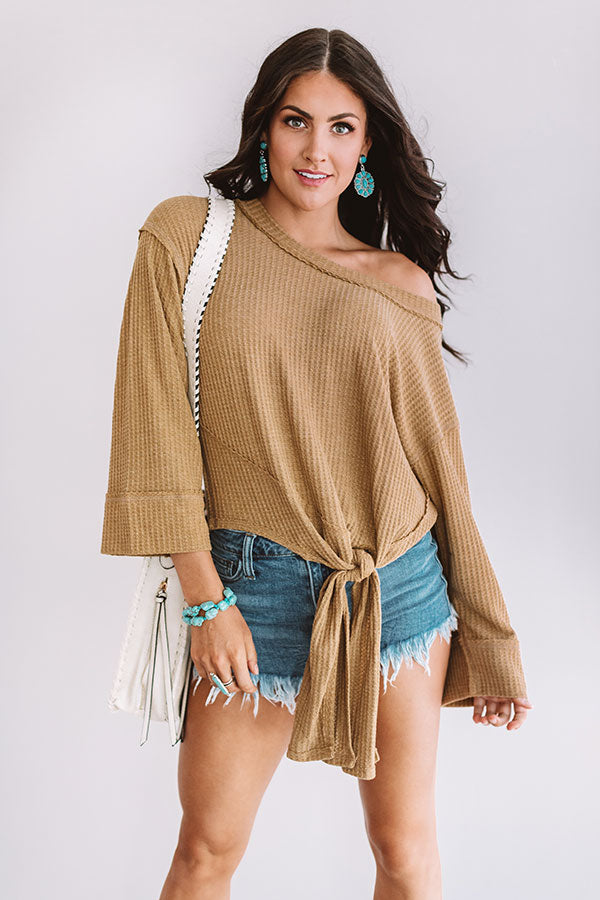 Ready For Rome Waffle Knit Tie Top in Khaki