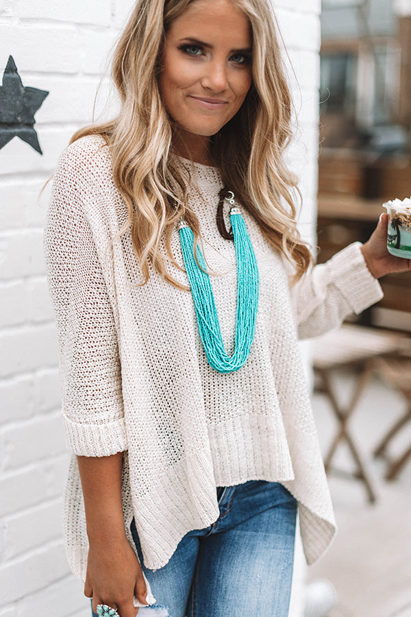 Bundle Up Sweetheart Knit Sweater in Ivory