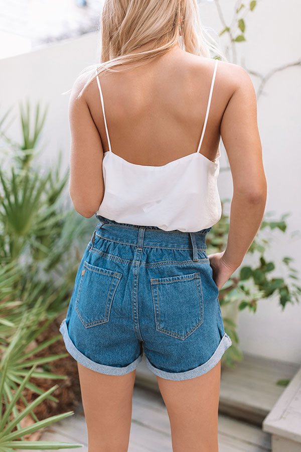 The Ellery High Waist Shorts In Medium Wash