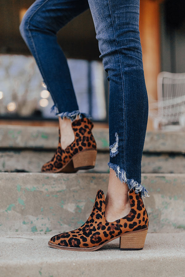 The Middleton Faux Suede Leopard Bootie