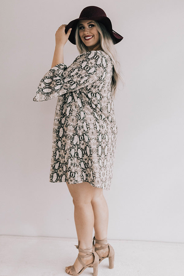 Champagne All Day Snake Print Shift Dress