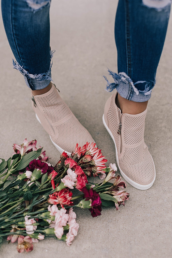The Asher Perforated Bootie In Blush