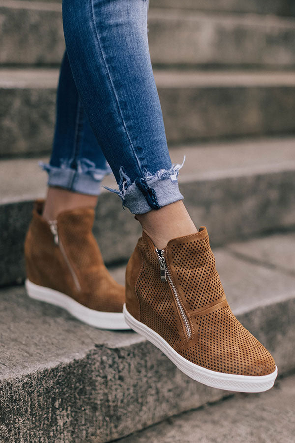 The Asher Perforated Bootie In Camel