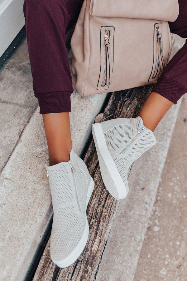 The Asher Perforated Bootie In Light Grey