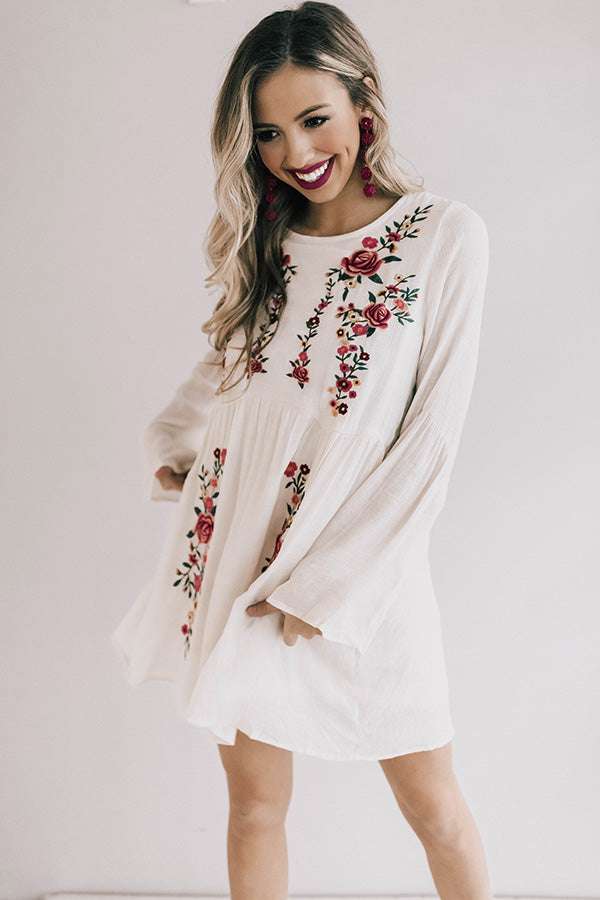 Stealing Your Heart Embroidered Shift Dress In Cream