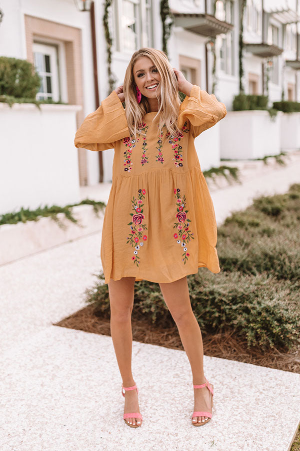 Stealing Your Heart Embroidered Shift Dress In Marigold