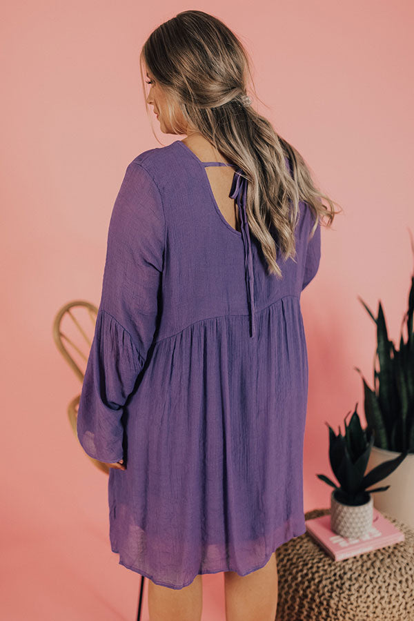 Stealing Your Heart Embroidered Shift Dress In Ultra Violet
