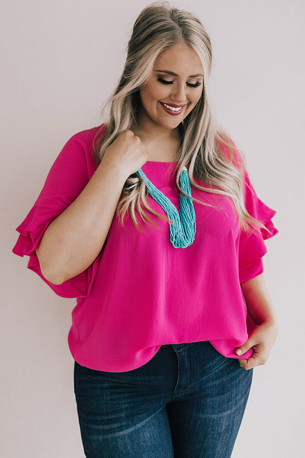 Parisian Vacation Shift Top in Hot Pink