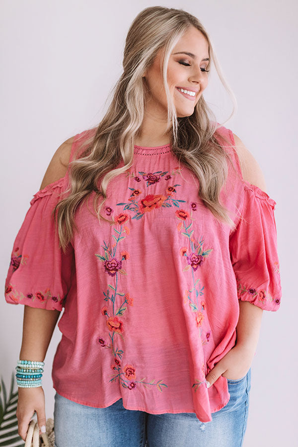 Paradise Is Calling Embroidered Shift Top In Pink