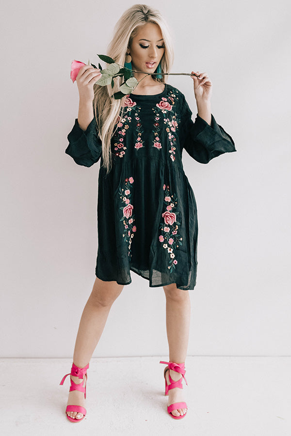 Stealing Your Heart Embroidered Shift Dress In Black