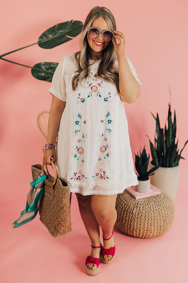 Meet Me In Paradise Shift Dress In White