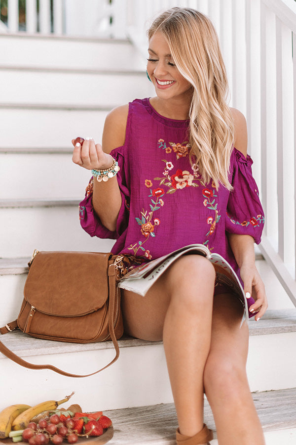 Paradise is Calling Embroidered Shift Top In Orchid