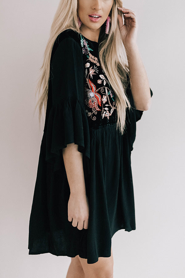 Darling Date Night Embroidered Shift Dress In Black