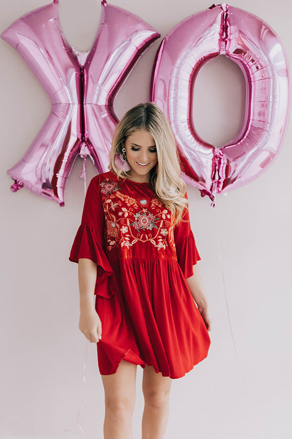 Darling Date Night Embroidered Shift Dress In Red