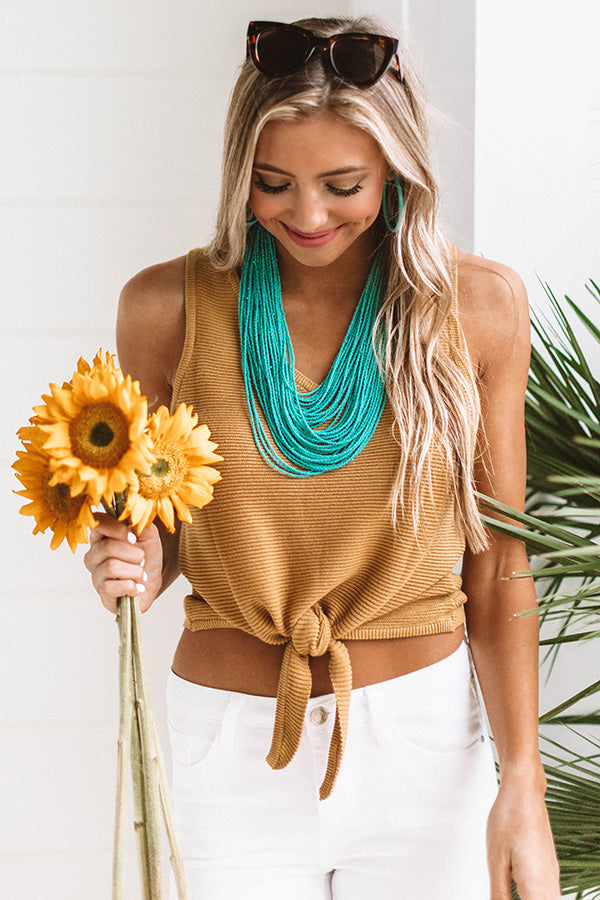 Patio Weather Ribbed Tie Tank In Mustard