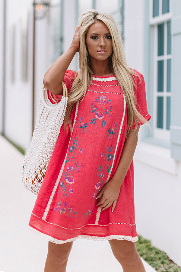 Meet Me in Paradise Shift Dress In Coral