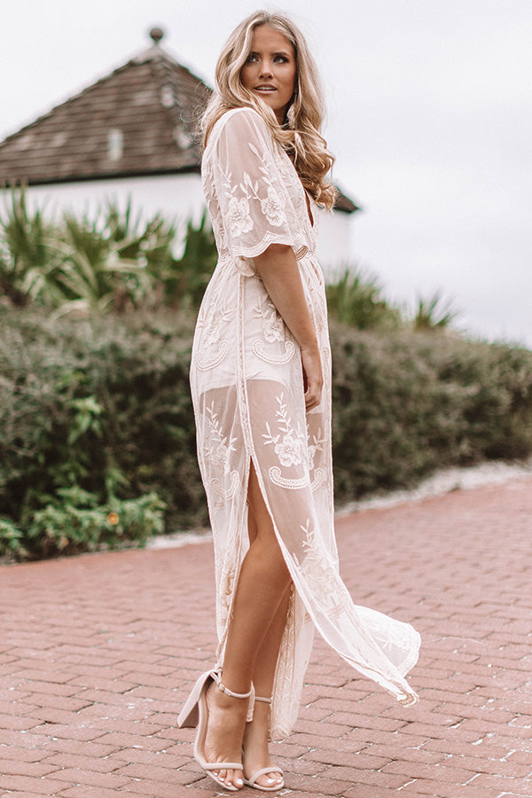 Lovely In London Lace Maxi In Cream