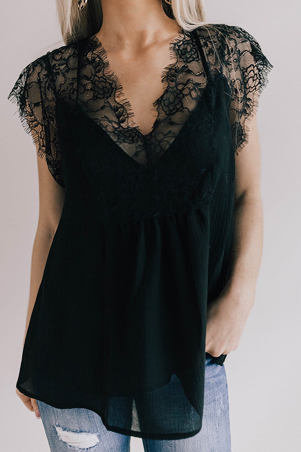 Daytime Romance Lace Top In Black