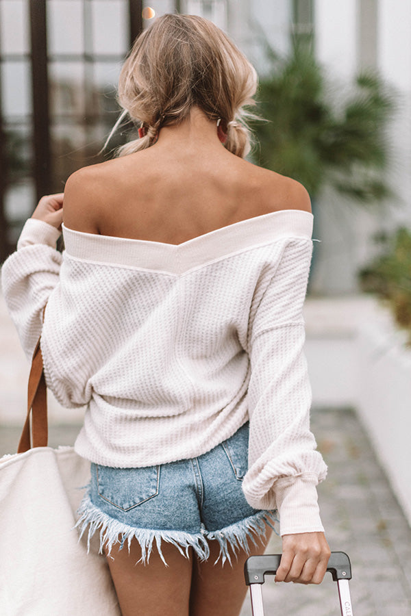 Brunch On Broadway Waffle Knit Top In Iced Latte