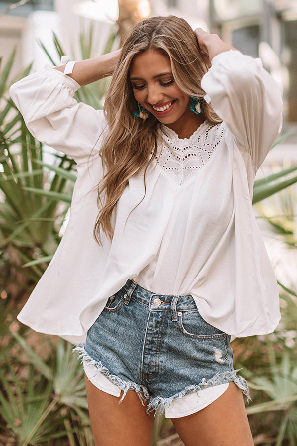 Seriously Crushing Eyelet Top In White