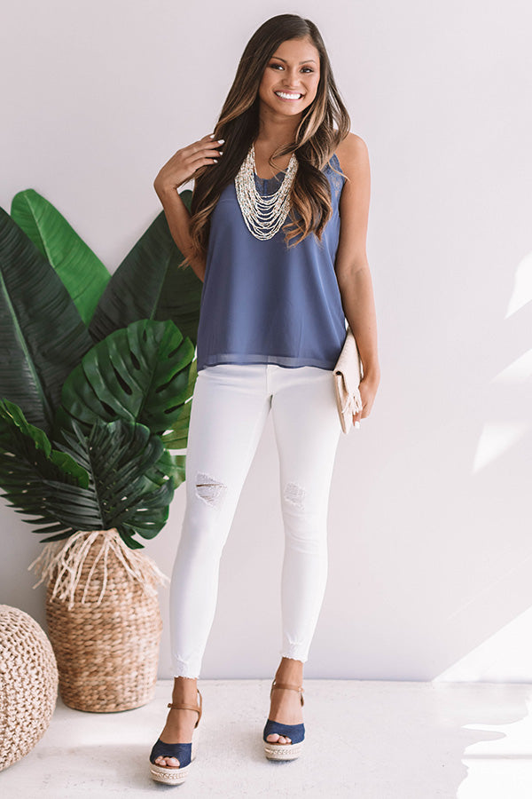 Femme And Fab Lace Trim Tank In Riverside