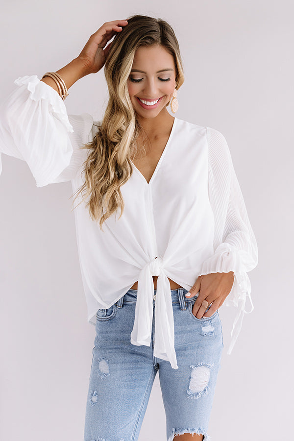 The Luxe Life Tie Top In White