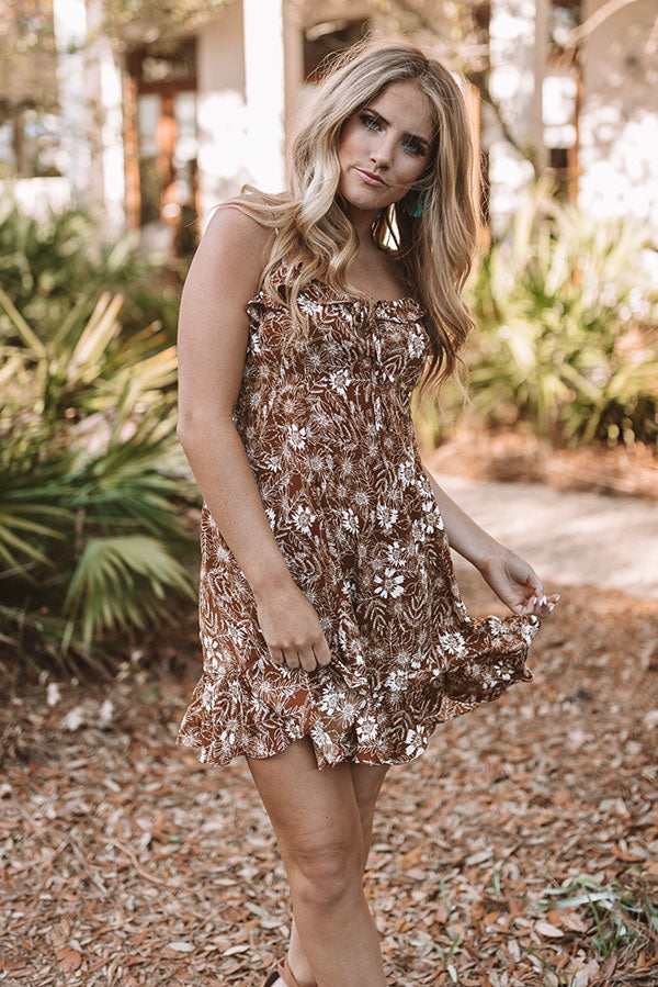 Roadtrip To Malibu Ruffle Dress In Brown