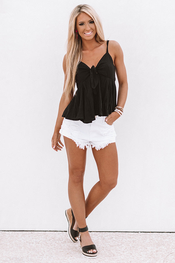 Flirty And Free Front Tie Tank In Black