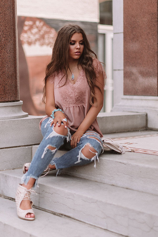 Daytime Romance Lace Top In Latte