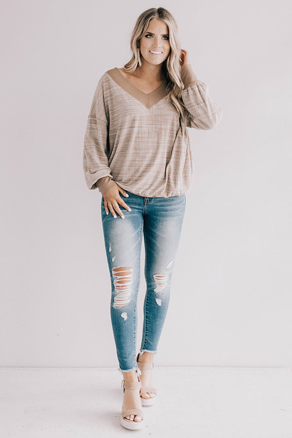 Divine Daydream Shift Top In Taupe