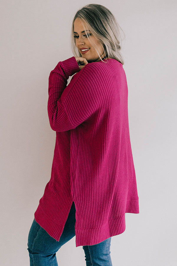 Long Weekend Waffle Knit Tunic In Fuchsia