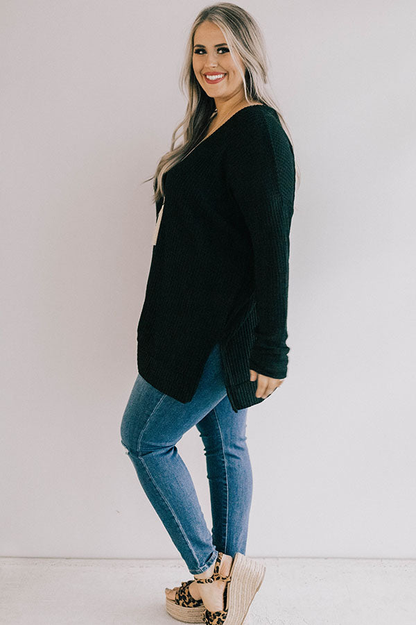Long Weekend Waffle Knit Tunic In Black