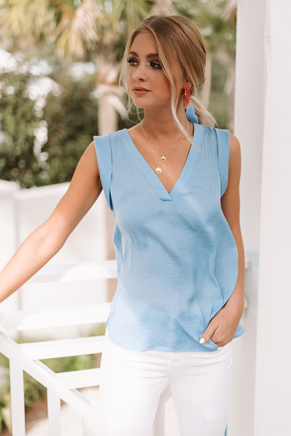 Martinis In Manhattan Shift Top In Sky Blue