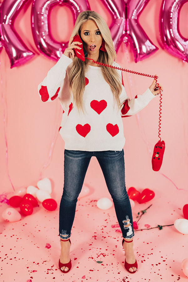 Candy Heart Crush Open Back Sweater