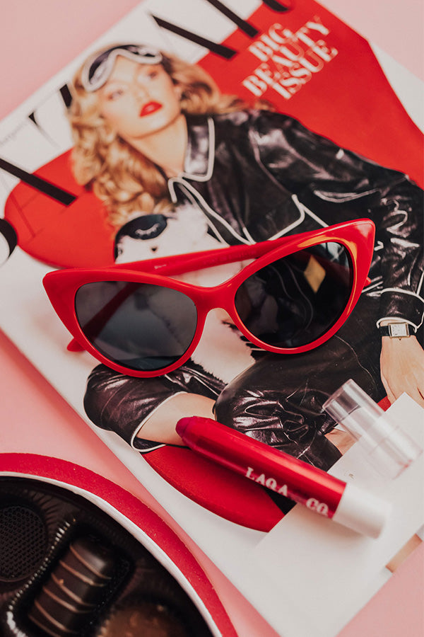 Ready For Vacay Cat Eye Sunnies in Red