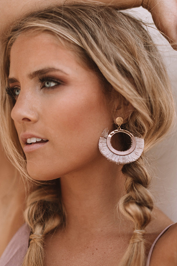 Toasting In Tahiti Earrings In Dusty Purple