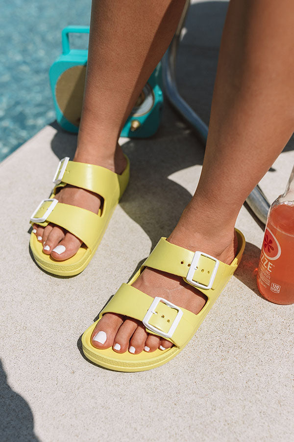 The Lex Sandal in Neon Yellow