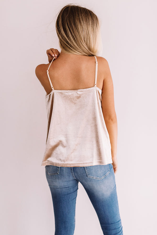 Twilight Terrace Velvet Tank In Champagne