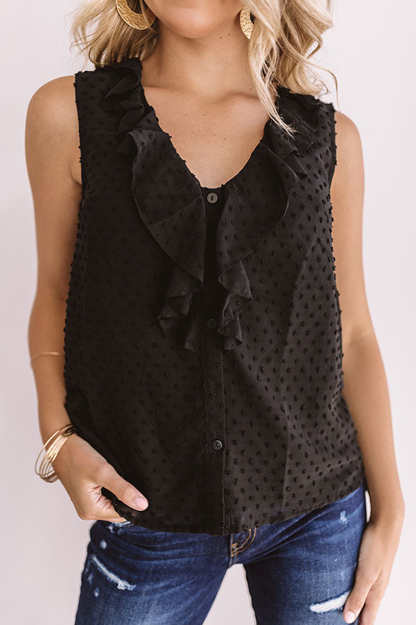 Mykonos Meet Up Ruffle Top In Black
