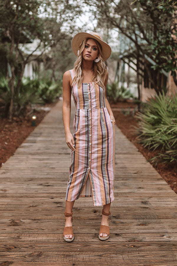 Sweet And Smitten Stripe Midi Dress