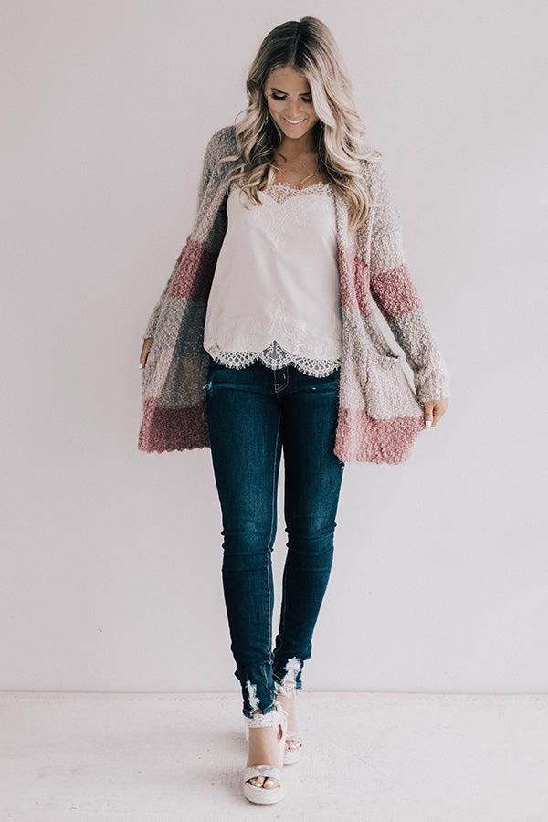 Cali Nights Colorblock Cardigan In Blush