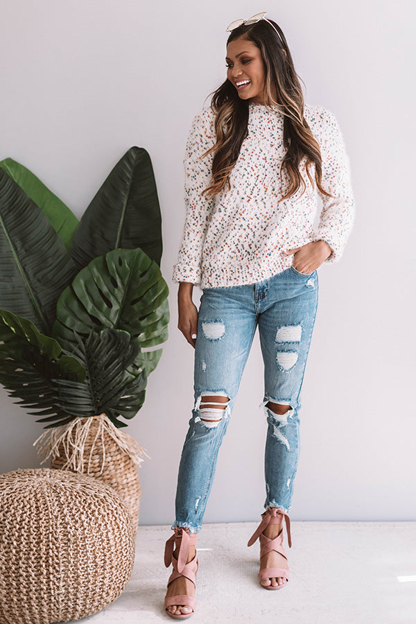 Jetty Punch Knit Sweater In Ivory