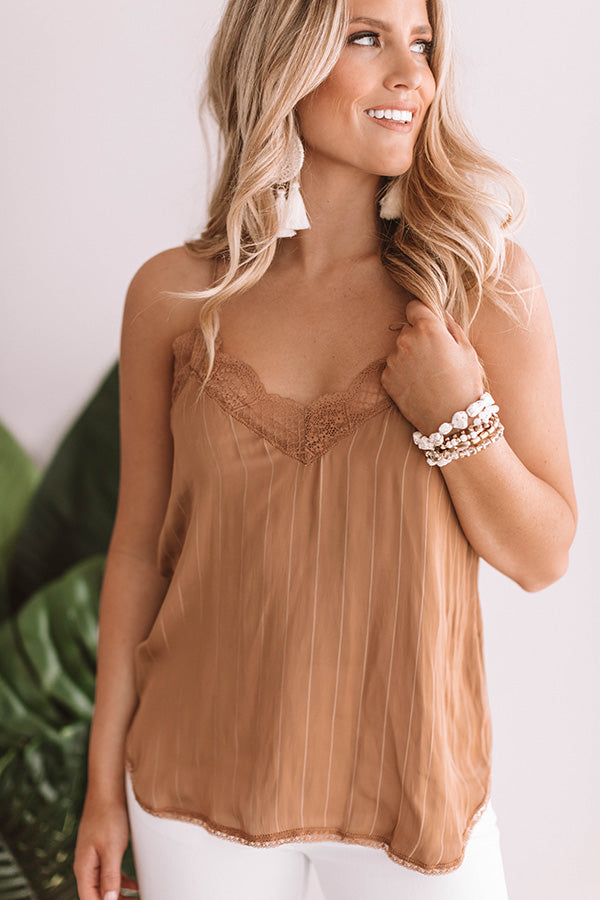 Chic in Santorini Satin Tank In Iced Mocha