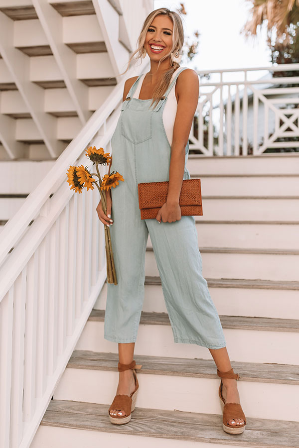 Crushing In Capri Chambray Jumpsuit in Light Wash